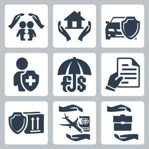 Vector insurance icons set: family insurance home insuranceauto insurance life insurance deposit insurance insurance policy insurance of goods travel insurance business risk insurance